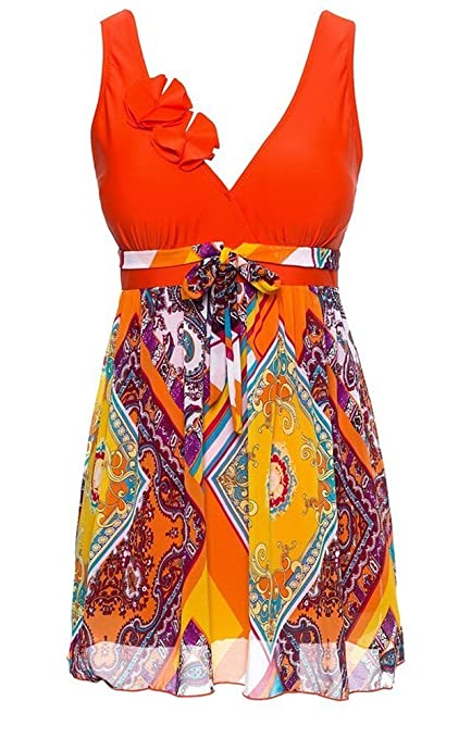 MiYang Women's Plus Size Printing Padded High Waist Swimdress