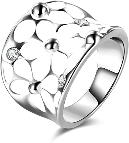 N-A Vintage Austrian Crystal Flower White Enamel Wedding Ring Rose Gold Color Love Wide Engagement Rings Bridal Jewelry