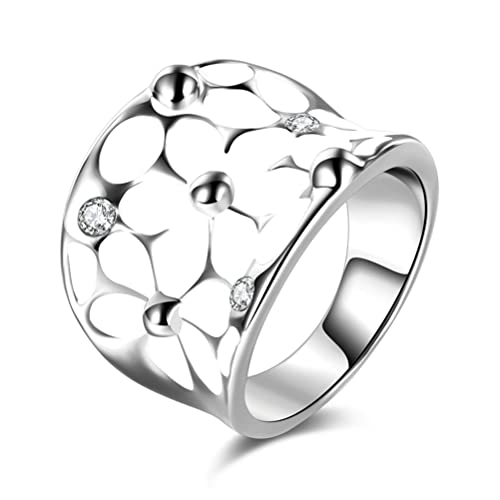 Amazon.com: temego Vintage esmalte blanco anillo de flores ...