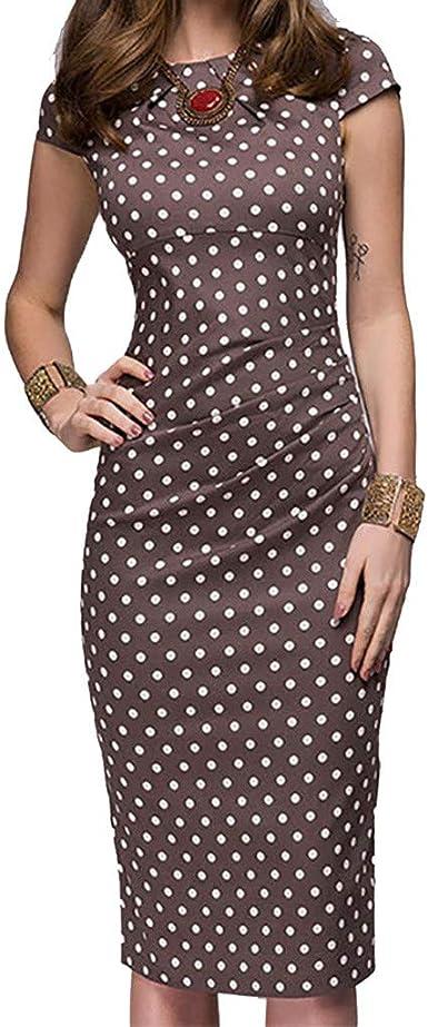 Womens Polka Dot Pocket Belt Pencil Midi Casual Winter Long Sleeve Retro Dress