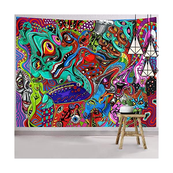 Hexagram-Trippy-Tapestry-Bohemian-Arabesque-Tapestry-Wall-Hanging-Psychedelic-Abstract-Wall-Art-Hippie-Monster-Fractal-Wall-Tapestry-for-Room-Dorm-Decor
