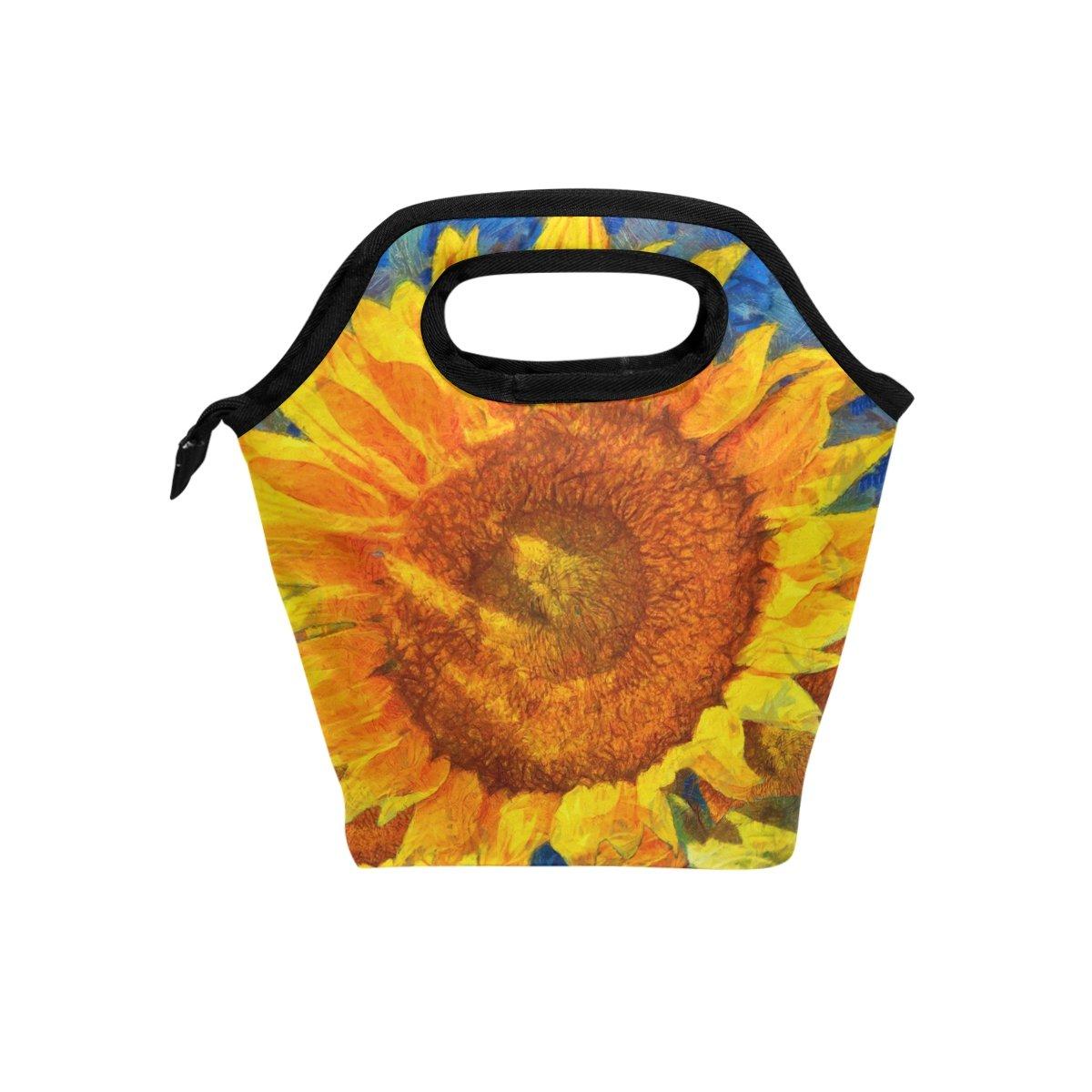 JSTEL - Bolsa de almuerzo estilo Van Gogh con diseño de girasoles