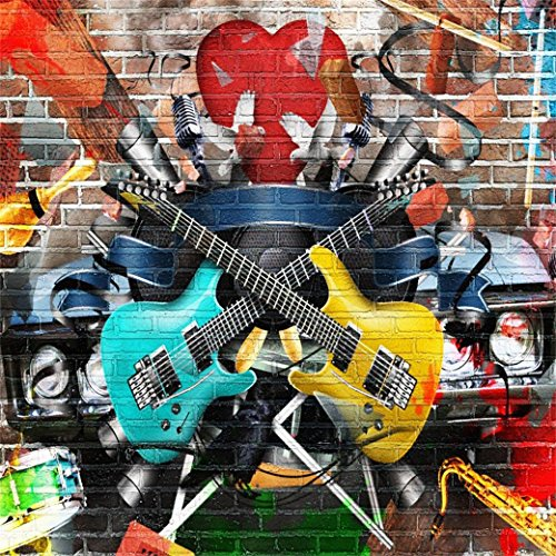 AOFOTO 8x8ft Rock Music Photography Background Grunge Graffiti Brick Wall Backdrop Punk Fashion Vocal Concert Scene Stylish Trendy Boy Girl Adult Portrait Party Decor Photo Studio Props -