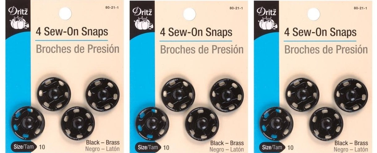 Dritz 80-30-1 Sew-On Snaps Black Size 3//0 12-Count