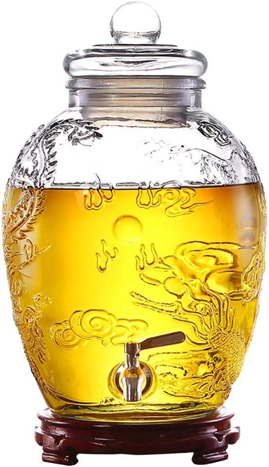 Dispensador De Bebidas 15L / 25L | Dispensador De Bebidas Mason Jar | Con Espiga Libre De Fugas | Soporte Robusto | Tapa De Vidrio | Ronda | Jugo, Cerveza, Ponche, Té Helado, Bebida Fría AA++