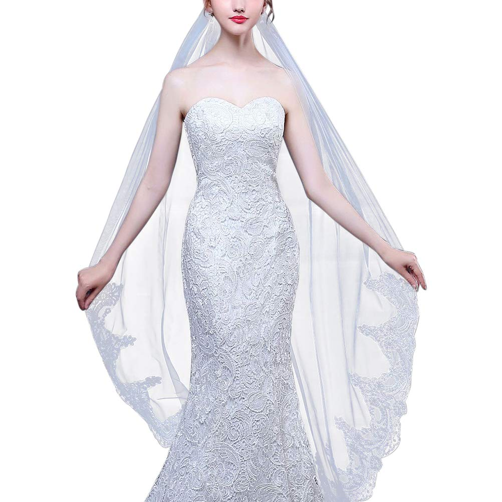 Wedding Bridal Veil Simple Elegent Lace Appliques Embroidery Petal Waltz Veil 1 Tier Comb besbomig