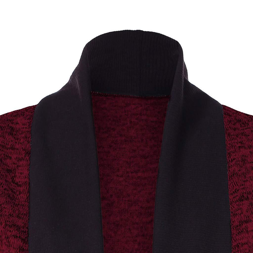 Kiminana Fashion Women Casual Long Sleeve Two Tone Patchwork Knit Pocket Cardigan Tops