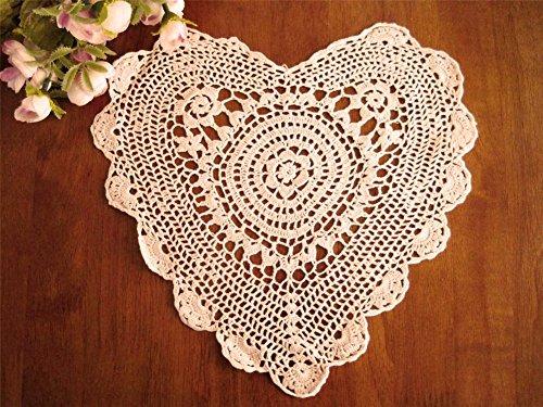 Handmade Crochet Lace Heart Shape Traycloths Doilies, 10-...