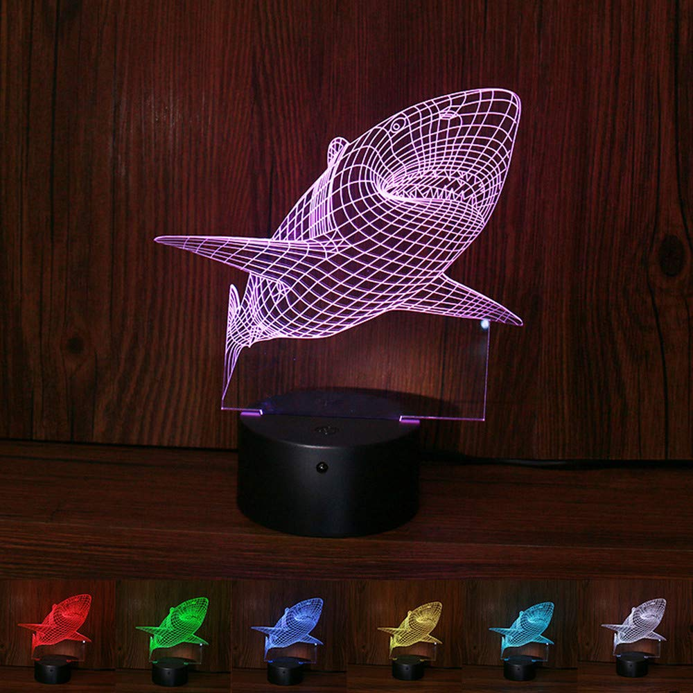 H+K+L 3D Shark Night Light with Remote Control Color Changing Optical Illusion Mood Lamp Nursery Home Light Party Decor (Multicolor)