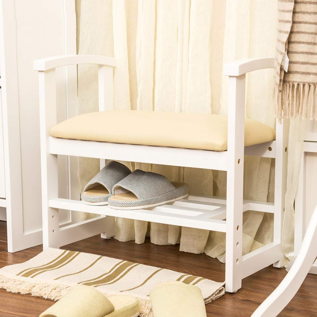 White 2 Tier Oak shoes Bench with 2 Arms, Wood Closets and Hallway Benches with Cushion, Brown Storage Shelf Wooden shoes Rack Organizer, Soft Cream Cushion (color   Natural)