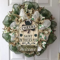 Cheers St Patrick's Pub Welcome Deco Mesh Wreath