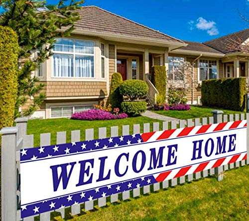 Colormoon Large Welcome Home Banner Military Army Theme Bunting Banner Homecoming Deployment Return Party Sign Outdoor Indoor (9.8 x 1.5 feet)