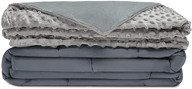"""Quility Premium Adult Weighted Blanket & Removable Cover - 15 lbs - 60""""x80"""" - for Individual Between 140-190 lbs - Full Size Bed - Premium Glass Beads - Cotton/Minky - Grey/Grey Color"""