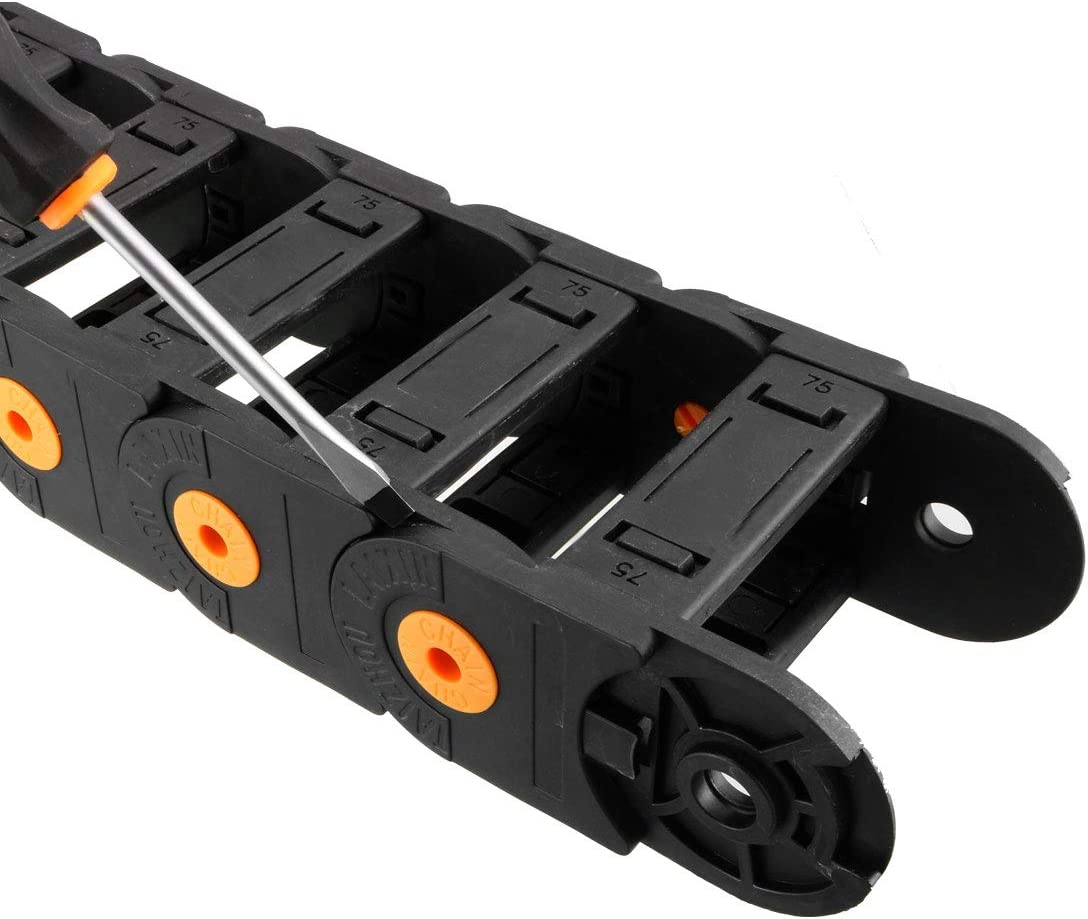 uxcell Drag Chain Cable Carrier Open Type with End Connectors R100 35X75mm 1 Meter Plastic for Electrical CNC Router Machines Black