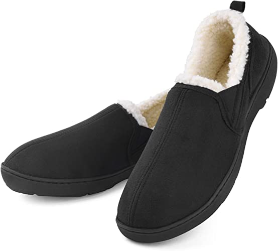 10 Men Comfy /&Warm Wool Micro Suede Plush Fleece Lined Moccasin House Slippers