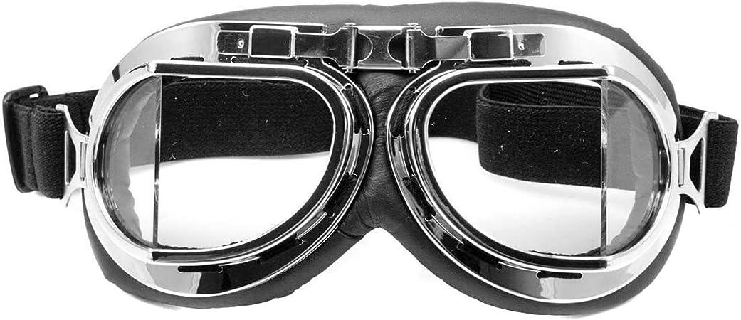 Clear Occhiali da pilota della RAF per moto motocross scooter Misura unica protezione solare anti UV e anti vento telaio cromato Nsstar
