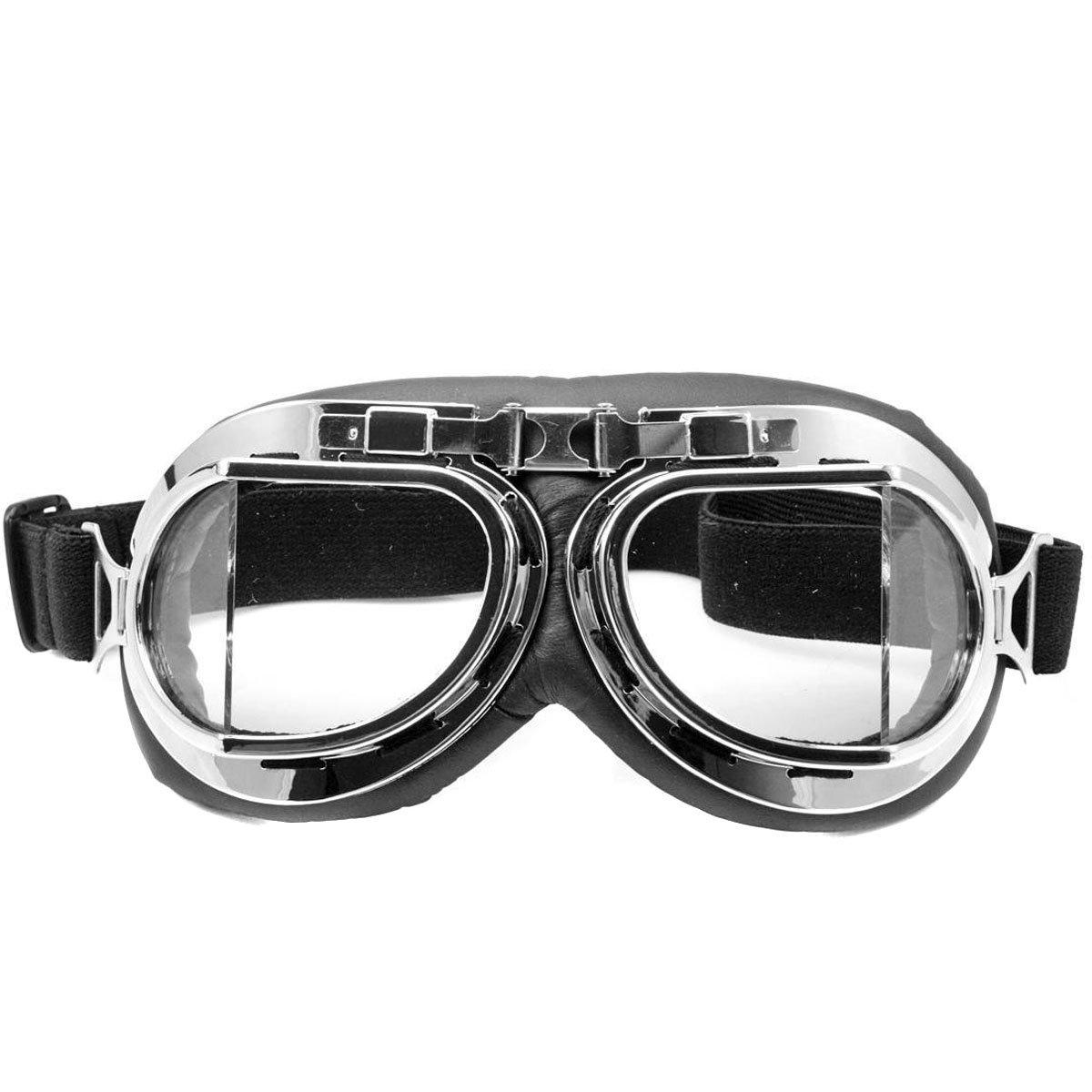 Nsstar Raf-/Piloten-/Flieger-/Motorrad-/Roller-/ Biker-/Motocross-Schutzbrille, schü tzt vor Sonne, UV-Licht, Wind, Chrom-Rahmen, gelb, Free Size