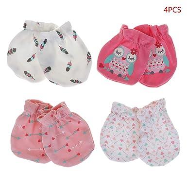 Garçon//fille 2 paires blanc rose nouveau-né coton bleu anti-rayures moufles//mitaines
