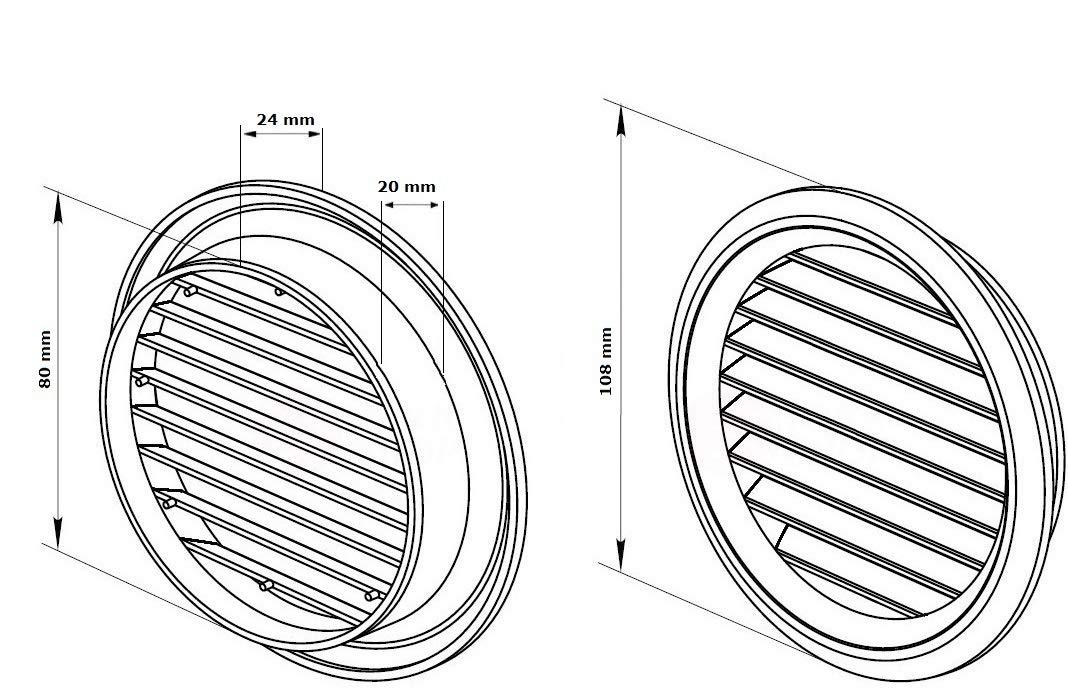 color negro 260 x 190 mm Rejilla de ventilaci/ón con protecci/ón contra insectos