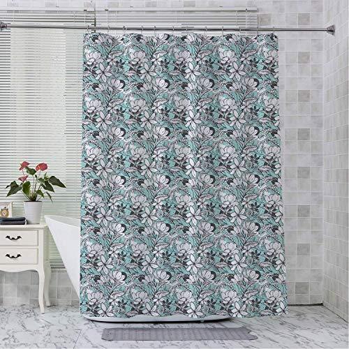 Robert L Brock Shower Curtain bar Aqua and Grey Botanical Pattern Artistic Flowers Frangipani Mimosa and Lotus Aqua Grey and White Shower stall Curtains 48 by 84 inch (Robert Rod Curtain)