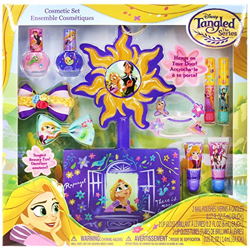 Townley Girl Disney's Tangled Cosmetic Set for Girls, Nail Polish, Lip Gloss, Hair Bows, Hair Clips and (Playdoh Costume)