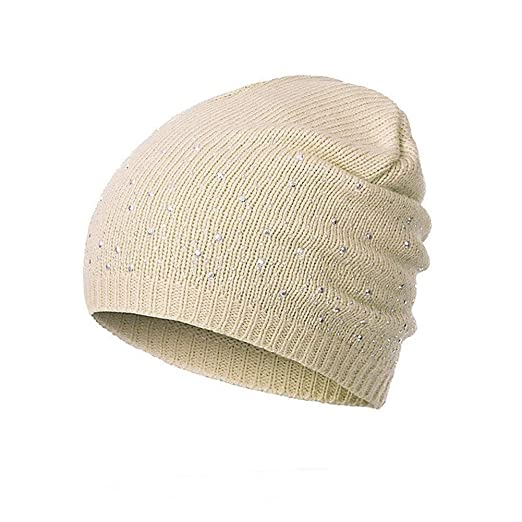 a9dbfea3823 Image Unavailable. Image not available for. Color  AkoMatial Acrylic Yarn Beanie  Cap Fashion Rhinestones ...