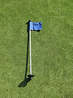 "Golf - Putting Green - (1) 30"" Practice Green Pin Marker w/ Easy Grab Knob and Ball Lifter Disk + (1) Solid BLUE Colored Jr Flag Included"