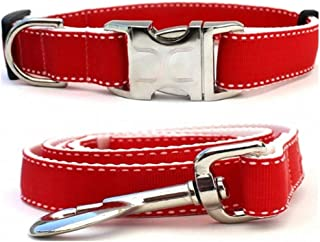 "product image for Diva-Dog 'Preppy Red' Custom 5/8"" Wide Dog Collar with Plain or Engraved Buckle, Matching Leash Available - Teacup, XS/S"