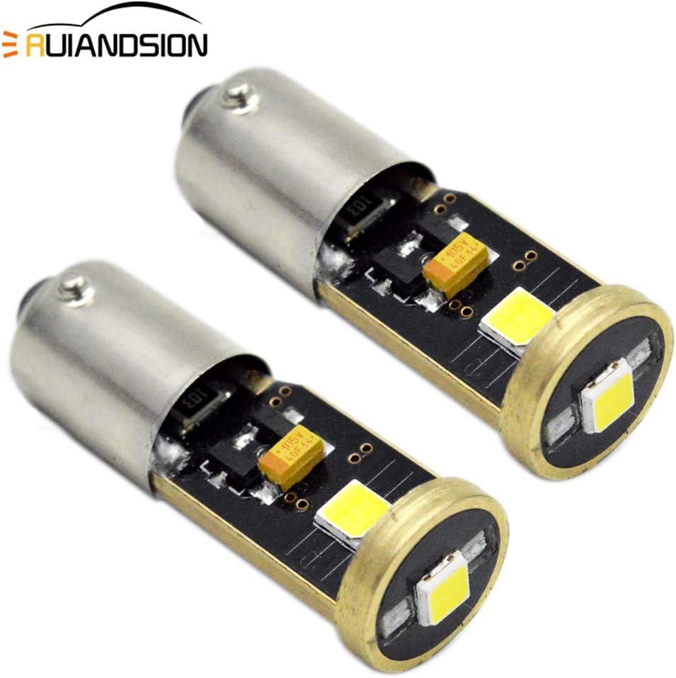 Ruiandsion 2 bombillas LED Canbus BA9S BAX9S BAY9S 12-24 V Super brillante 3030 3SMD Chipset LED para interior de coche, puerta lateral, luces de cortesía, luz de mapa, blanco/amarillo
