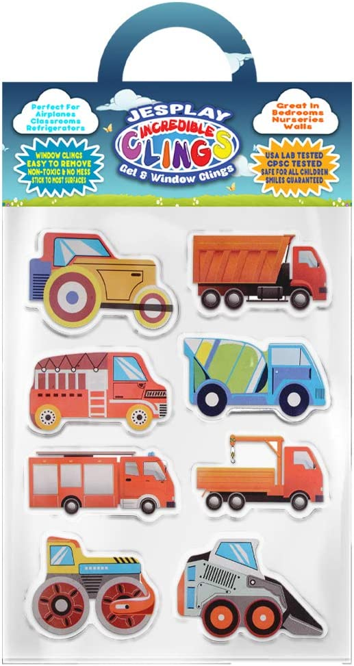 Tough Trucks Thick Gel Clings Incredible Removable Window Clings for Kids, Toddlers - Tractor, Crane, Fire Truck, Excavator, Plow - Incredible Gel Decals for Glass, Walls, Planes, Classrooms, Bedroom