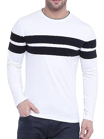 40fe71f14409 GRITSTONES Men's Plain Slim Fit T-Shirt (GSFSTSHT1832WHTBLK_S_Multi_Small)