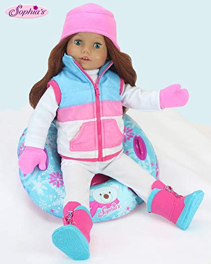 Doll Outfit Set of Pink Fur Vest and Doll Clothes for 18 Inch Doll 4 Pc Shirt
