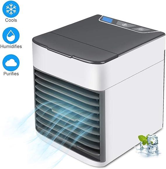 Star Supermarket Refrigerador de Aire, Mini humidificador y purificador de Aire Acondicionado portátil 3 en 1 con luz de Noche LED, Ventilador de 3 velocidades para la Oficina en casa: Amazon.es: Hogar
