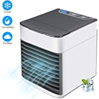 Harddo Air Cooler, 3-in-1 Portable Mini Air Conditioner Humidifier & Purifier with 7 Colors LED Night Light, 3 Speeds Fan for home office