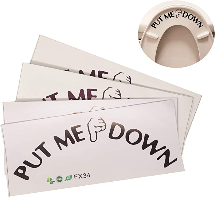 Honbay 4 Sets of Funny Reminder Decoration Put Me Down Toilet Seat Stickers Decals, Waterproof and Removable