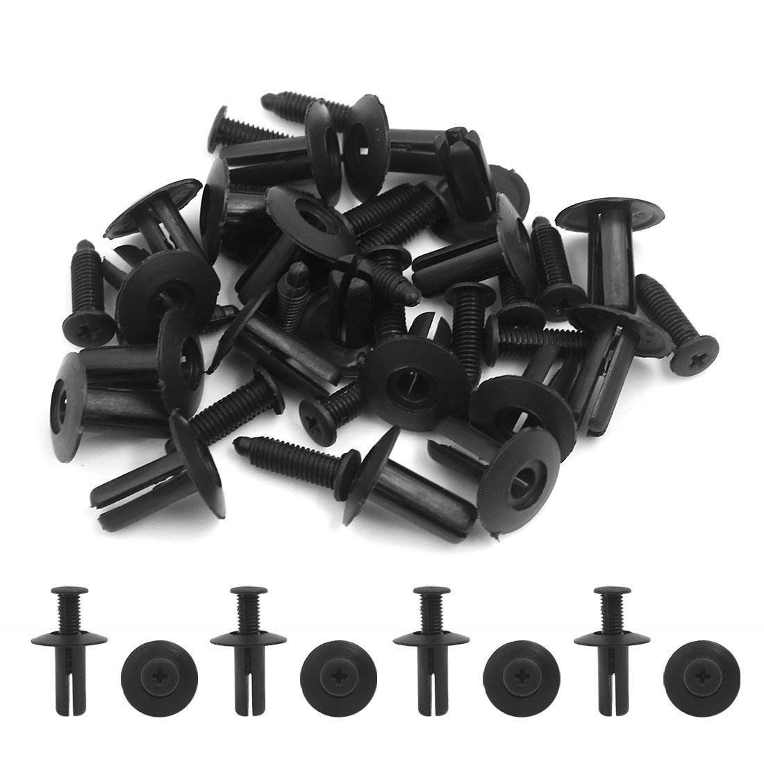20 Pcs Rivet en plastique Trou 8mm Clip de fixation Clip de poussoir Agrafe Noir