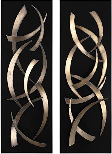 Uttermost Brushstrokes 46 3/4″ High 2-Piece Metal Wall Art