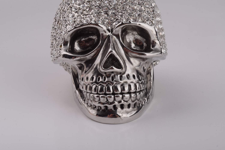 Keren Kopal Silver Skull Trinket Box Decorated with Swarovski Crystals Unique Handmade Gift Home Office Decor