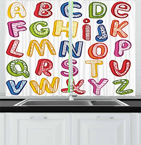 Ambesonne Educational Kitchen Curtains, Hand Drawn Colorful 3D Style ABC Letters with Kids Patterns Joyful Fun Design, Window Drapes 2 Panel Set for Kitchen Cafe, 55 W X 39 L ()