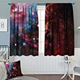 lacencn Space Decorations Collection Window Curtain Drape Space Nebula with Star Cluster in the Cosmos Universe Galaxy Solar Celestial Zone Decorative Curtains For Living Room 52''x63'' Teal Red Pink