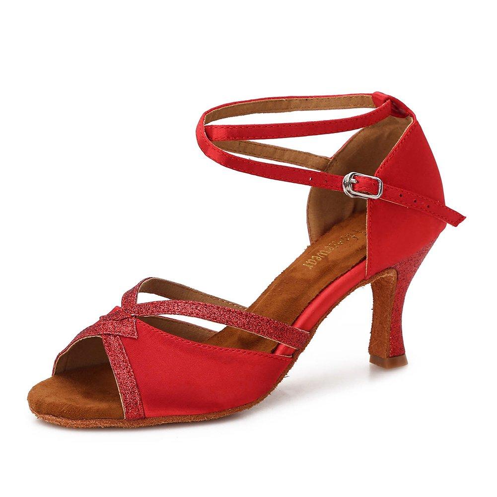 [TTdancewear] レディース DS888 B07BWKMM3H 8 B(M) US|Red-3inch Heels Red-3inch Heels 8 B(M) US