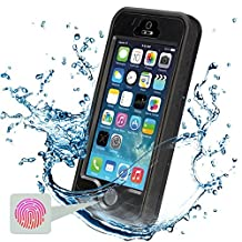 iPhone 5S Waterproof Case, Febe iPhone 5 Waterproof Case - Protective Cases Cover for Apple iPhone 5S 5 iPhone 5 Case / iPhone 5S Case with Built-in Ultra Clear Screen Protector - Slimmest Profile with Capability of WaterPROOF, ShockPROOF, SandPROOF, SnowPROOF [Works with TouchID] - Black