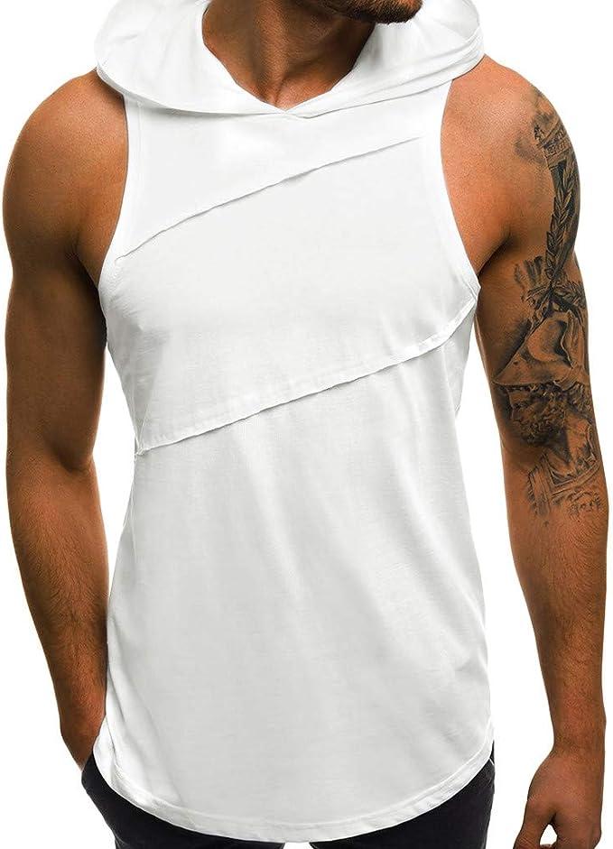 camisetas de tirantes hombre gym,Camiseta deportiva sin mangas con capucha y agujero holgado para hombre Camiseta con Capucha de Tirantes Deportes para Hombre, Tops Camisa sin Mangas de Verano Fitness: Amazon.es: Ropa