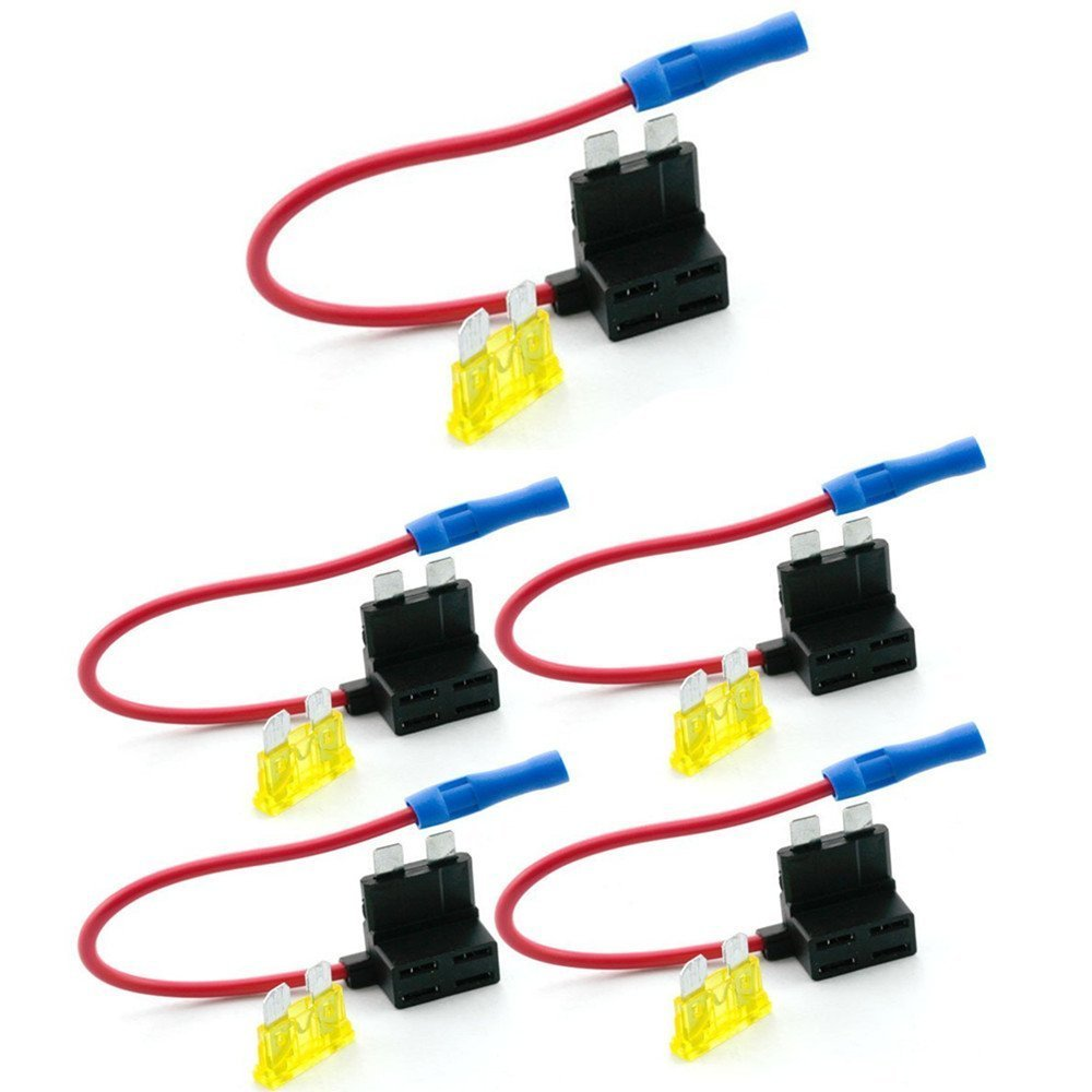 Qiorange Car Standard Blade Fuse Holder 2-Input 4-Output, ATC ATO 4 Way Fuse Box with Wire for Car/Boat/ Marine/Trike, With 10 Free Blade Fuse (3A 5A 7.5A 10A 15A 20A 25A 30A 35A 40A)