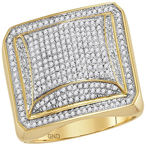 Jewels By Lux 10kt Yellow Gold Mens Round Diamond Domed Square Cluster Ring 1.00 Cttw Ring Size 10 ()