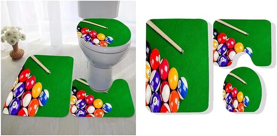 Ulongpoq Almohadilla para asiento de inodoro de tres piezas personalizable billar bolas en mesa verde con billar taco billar juego de piscina: Amazon.es: Hogar