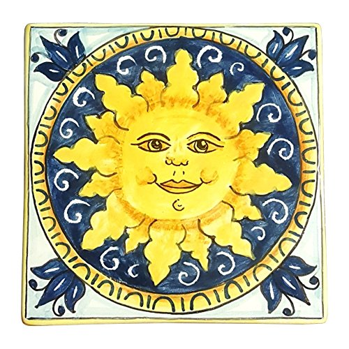 CERAMICHE D'ARTE PARRINI - Italian Ceramic Art Tile Pantiles Pottery Hand Painted Decorated Sun Made in ITALY Tuscan
