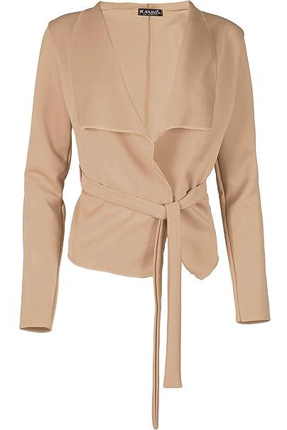 0b365021e6618 Fashion Star Womens Long Sleeve Belted Wrap Over Waterfall Coat Jacket  Blazer Cardigan  Amazon.co.uk  Clothing