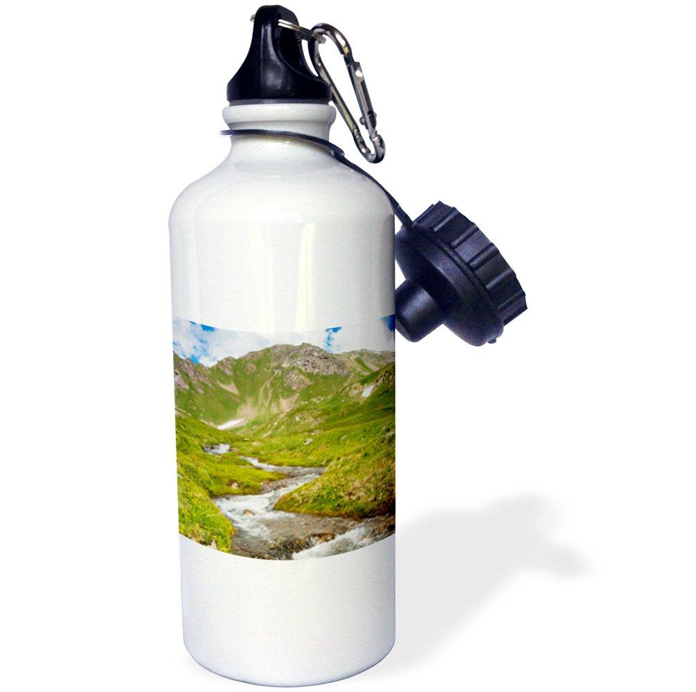 3dRose wb_209444_1'' Creek, Mont Fallere, Aosta Valley, Italian Alps, Italy Sports Water Bottle, 21 oz, Multicolor