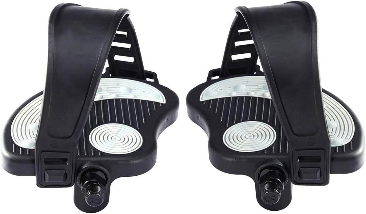 Stationary Recumbent Bike Pedals 9//16 /& 1//2 for Indoor Exercycle Bike,Spin Bike,Toe Cages for Peloton Bike 1 Pair Beyoung Exercise Bike Pedals with Strips
